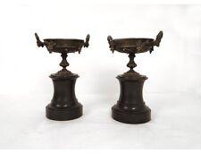 Paire cassolettes vigne bronze marbre noir antique french Napoléon III XIXè