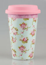 Vintage Floral Design Ceramic Double Walled Travel Mug in Martha Rose Print  NEW