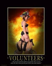 Firefighting Motivational Poster Art Female Volunteers Equipment Badge   MVP100