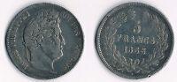 MONNAIE / ECU DE 5 FRANCS LOUIS PHILIPPE DE 1833 L @ BAYONNE @ RARE SILVER COINS