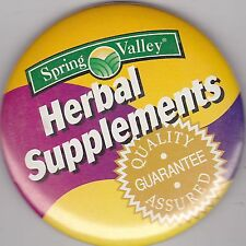 "VINTAGE 3"" PINBACK #38-036 - ADVERTISING - SPRING VALLEY HERBAL SUPPLEMENTS"