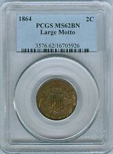 1864 SHIELD TWO CENTS LARGE MOTTO PCGS MS-62 BN