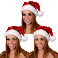 PACK OF SEQUIN SANTA HATS CHRISTMAS FANCY DRESS XMAS PARTY FATHER CHRISTMAS LOT