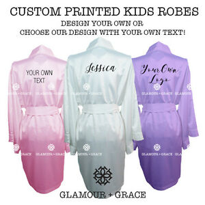 PERSONALISE Kids Satin Robe With Any Design/Text! Custom Printed Dressing Gowns.