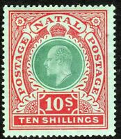 South Africa Natal 1908 green/red on green 10/- multi-crown CA mint SG170