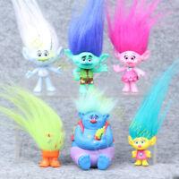 6 Pcs Dreamworks Movie Trolls Poppy Branch Cake Topper PVC Figur Modell Playset