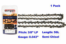 """16 Inch 3/8"""" LP Pitch 0.043'' Gauge Semi Chisel Chainsaw Chain 56 Links"""