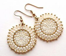 Hand Beaded Large Disc Hoop Dangle Earrings in White and Gold w/ Center Crystal
