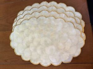MID CENTURY VINTAGE SET OF 4 CAPIZ SHELL GLAZED OVAL PLACEMATS 18 X 12 TROPICAL
