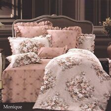 Cotton Viscose Jacquard QUEEN Quilt Cover Set MONIQUE Biege Doona Duvet NEW
