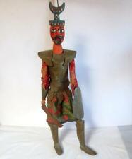 """Old Persian Wooden Puppet Middle Eastern Tunisian Warrior w/Shield Sword 36.5""""H"""