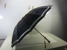 Vintage Dark Blue Striped Umbrella with Tortoise Bakelite Handle