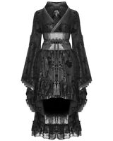 Punk Rave Gothic Steampunk Dress Long Red Black Brocade Faux Leather Victorian