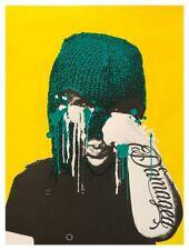 KidEight 'Damaged' 2018 screenprint Yellow Urban street art- Banksy, dolk, eelus