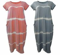 Italian LAGENLOOK Balloon Dress Jersey Soft Stretch COTTON TIE DYE Pocket Tunic