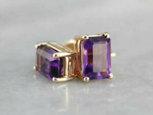 3Ct Emerald Cut Purple Amethyst Solitaire Stud Earring's 14K Yellow Gold Finish.