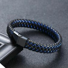 Men's Bracelet Stainless Steel Magnetic Clasp Cross Braided Leather Wrist Bangle