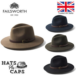 Failsworth Adventurer Fedora Crushable Showerproof Hat Wool Shooting Wide Brim