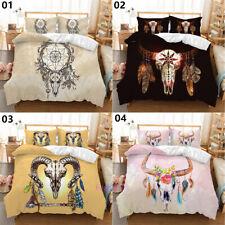 Single/Double/Queen/King Bed Quilt/Doona/Duvet Cover Floral Bull Skull Linen
