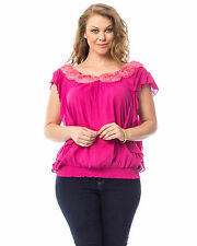 Women Top PLUS SIZE 1XL 2XL 3XL Pink Flower Scoop Neck Batwing Sleeves Smocked