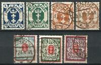 Germany (Weimar Rep.) Danzig 1922 Used - Defins State Arms in Octagon Mi-123-129
