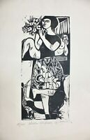 """Gertrud Zurowski (geb.1925) signierter Original Holzschnitt """"Mädchen mit Blumen"""""""