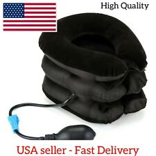 Air Inflatable Pillow Cervical Neck Headache Pain Traction Support Brace Brown