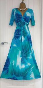 PER UNA size 16 bright blue stretch maxi dress viscose floral summer holiday VGC