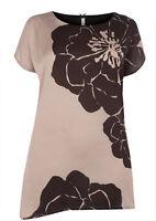 EX Evans Smart Mink & Black Floral Satin Stretch Top 14 16 18 20 22 24 *NEW*