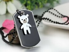 Men's Stainless Steel Black Dog Tag Silver Cute Bear Pendant  Necklace w Chain