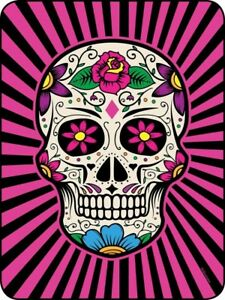 New 45x60 Sugar Skull Soft Plush Fleece Throw Gift Blanket Pink & Black Goth NIP