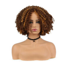 Women Short Curly Hair Wig Ombre Brown Afro Kinky Curly Synthetic Hair Wigs