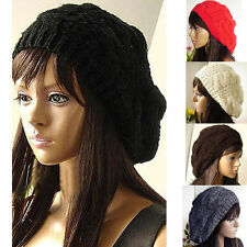 Fashion Warm Winter Women's Beret Braided Baggy Knit Crochet Beanie Black Hat