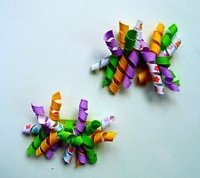 Gymboree Hair Clips x 2 - Yellow, Green, Purple and White with Flowers, New