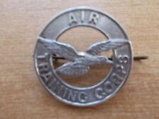 VINTAGE AIR TRAINING CORPS METAL CAP BADGE 38mm DIAM VERY GOOD CONDITION