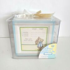 A Block To Grow On Ceramic Baby Keepsake Saving Bank 1st Year Blue Teddy Bear