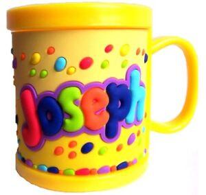 Boys Childrens 3D Personalised Name Plastic Cup/Mug New JOSEPH