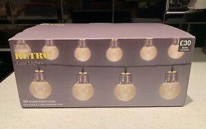 NEXT RETRO STRING LIGHTS WARM WHITE LIGHTBULB LEDs x50 INDOOR