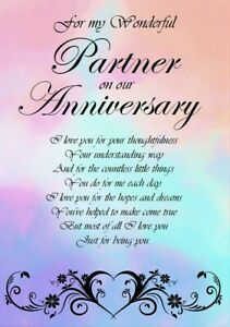 'To a Wonderful Partner on our Anniversary' A5 Card - Love Keepsake Memories