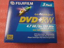 New Fujifilm DVD-RW 4.7 GB or 120 Min Re-Recordable Data & Video Disks 5-Pack