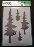 Stencil by Aurora Arts A4 Forest Fir Tree 190mic Mylar craft stencil 097