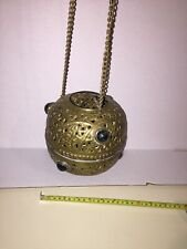 Vintage rare Morroccan Style Hanging Glass and Brass Candle/Incense Holder,