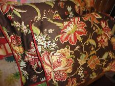 COTE COUTURE ROSE TREE BROWN RED FLORAL SATEEN (PAIR) KING PILLOW SHAMS 20 X 36