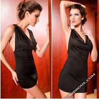 Sexy DIVA Partykleid Gogo Abendkleid Longtop Damen Cocktailkleid schwarz S M L