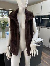 Harrods Real Fur Gilet Waistcoat M Uk 10 Chocolate Brown VGC