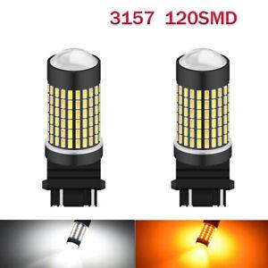 3157 4157 Switchback LED Turn Signal Lights Anti Hyper Flash White Amber 120SMD