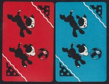 2 Single VINTAGE Swap/Playing Cards PUPPY DOGS & BALL COLOURED TONGUES Red/Blue
