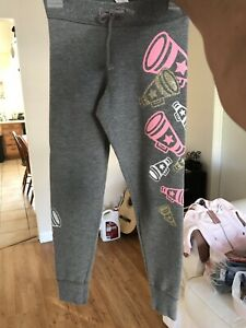 JUSTICE Girls CHEER leggings Size 6 Gray Pink
