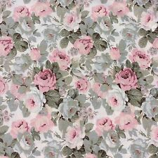 Cotton Blend Fabric Allover Shabby Chic Rose Floral Pink Sage Bone Craft Sewing