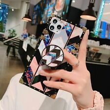 Luxury Marble Metal Square Holder Stand Case Cover for iPhone 11 XS Max XR 6 7 8